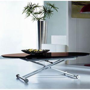 TABLE BASSE TABLE BASSE RELEVABLE OVALE JULIA BOIS WENGE