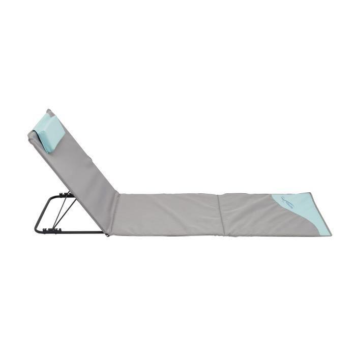 tapis de plage pliant avec dossier et oreiller de t 234 te bleu gris 200 x 60 x 3 cm achat