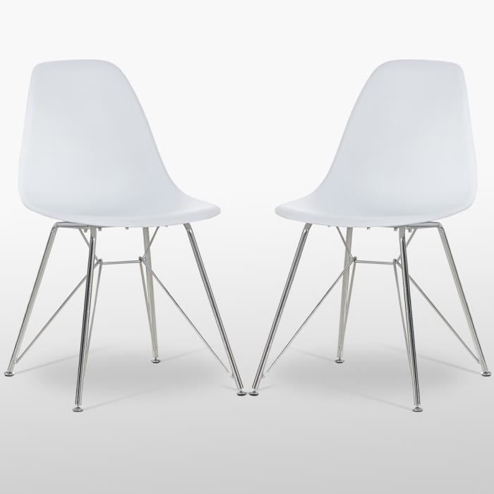 Valentina Chaise Moderne Design Scandinave Blanc Avec Pietement Chrome Mid Century Dining Chair De Bureau