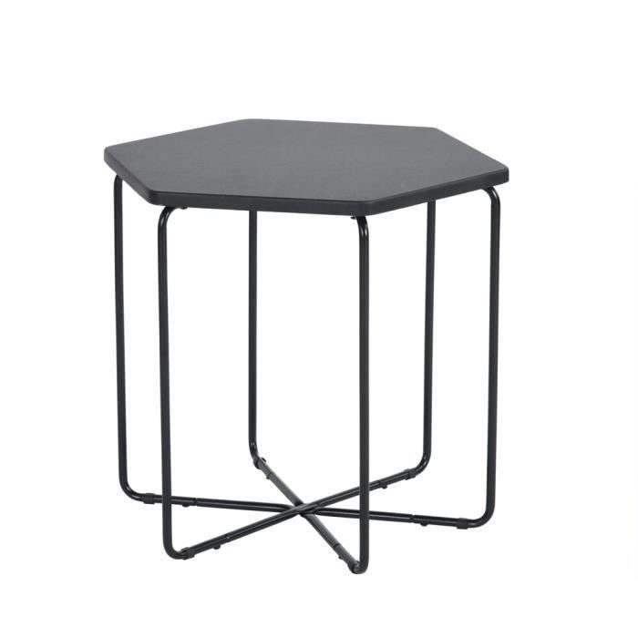 Furniturer Table Basse De Salon Hexagonale Contemporain En Bois Pied