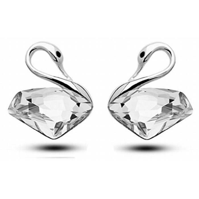 Rhodié Swan cloutées femmes cristal constellée alliage Boucles doreilles pour EtD26CN