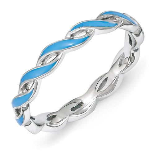 2 mm Argent Sterling Expressions empilable-Émail bleu-Taille 1/2–N
