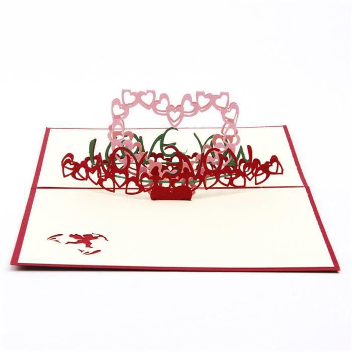 carte de voeux 3d je t 39 aime pour anniversaire saint valentin mariage anniversaire achat. Black Bedroom Furniture Sets. Home Design Ideas