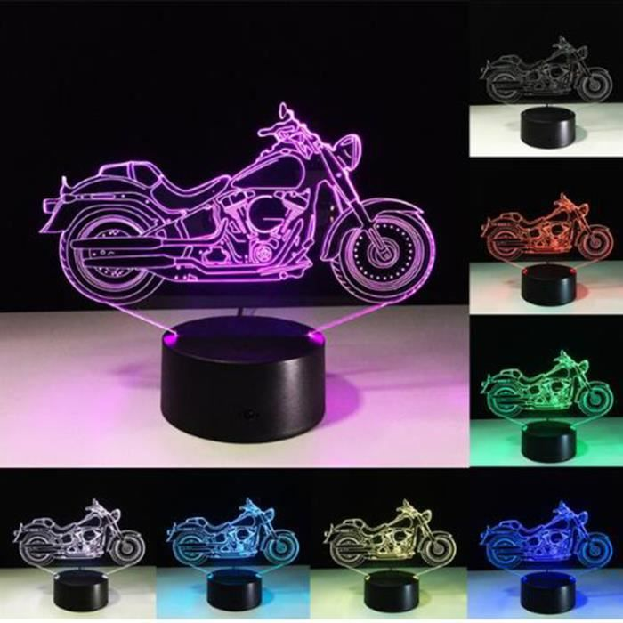 Changeantes Led Couchage Tactile 3d De 7 Forme Acrylique Motos Usb Lamparas Table Lampe Veilleuse Moteur Lumière Couleurs 7yYf6Ibgv