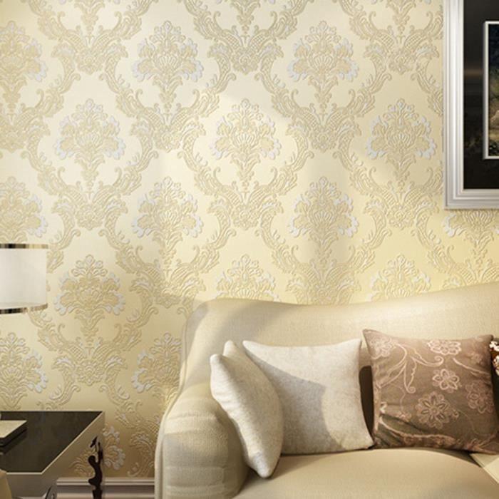 3d Papier Peint Intisse Style Modern Simple En Relief 10m Jaune