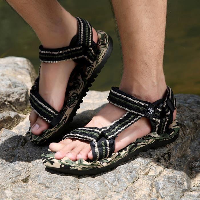 Hommes d'été non-Slip Sandales Sea Beach Chaussures mode Camouflage Marcher dans l'eau Slipper