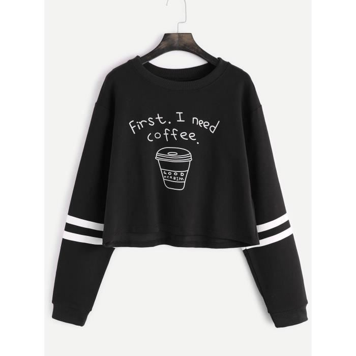 bb810d1b78cb Sweatshirt Femme Chic Manches Striped+Lettre printed Blouse Col Rond  Pullover Casual Sexy Tops Noir