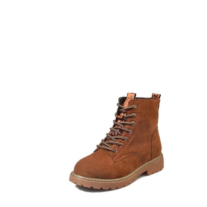 Femmes Martin Bottes Casual élégant lacer solide Couleur Tous match Chaussures Casual 12066790