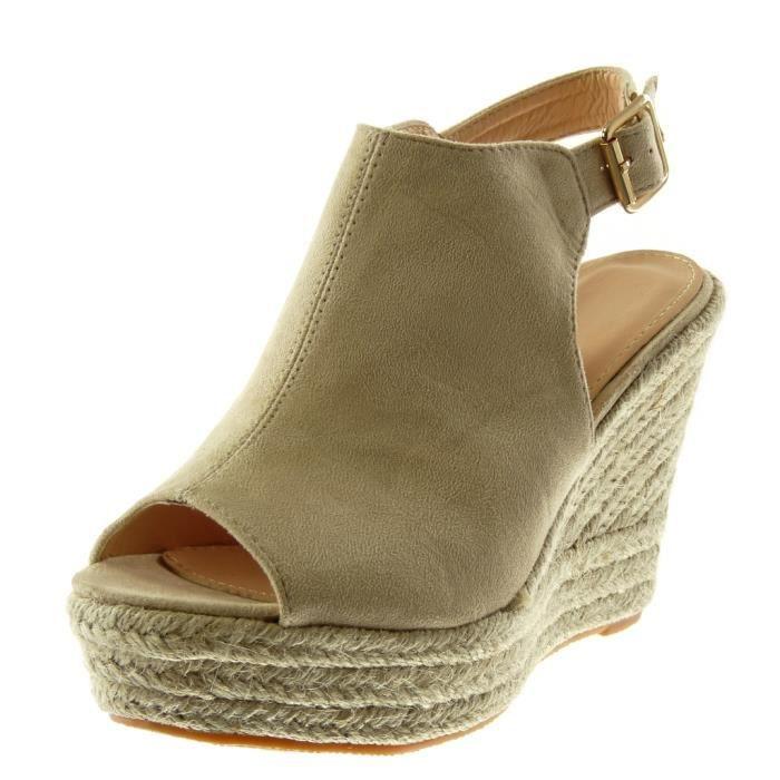 Angkorly - Chaussure Mode Mule Sandale plateforme Peep-Toe lanière cheville femme corde tréssé Talon compensé plateforme 11 CM -