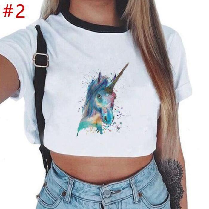 bb1c8f04425a4 Femme Fille T-shirt Blanc Lircone Imprimé Manche Courte Haut Court Top  Court Vêtement Mode