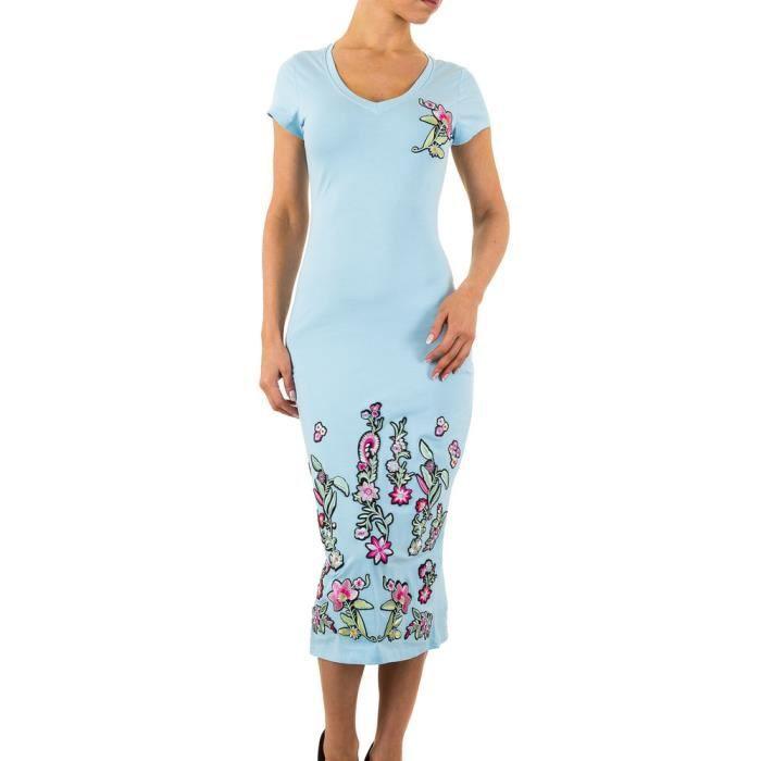 Femmes Bleu L Fête Soirée Chemise Robe D'été De Clair Brodé Extensible Plage nOP80Xwk