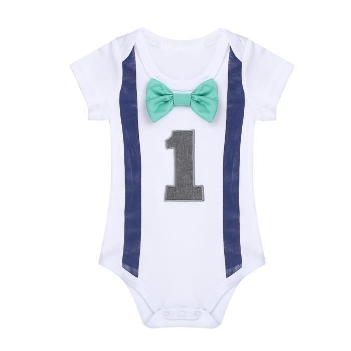 Body bébé garçon - manches courtes coton photographie anniversaire - de 9 à  12 Mois a91cdb3357d