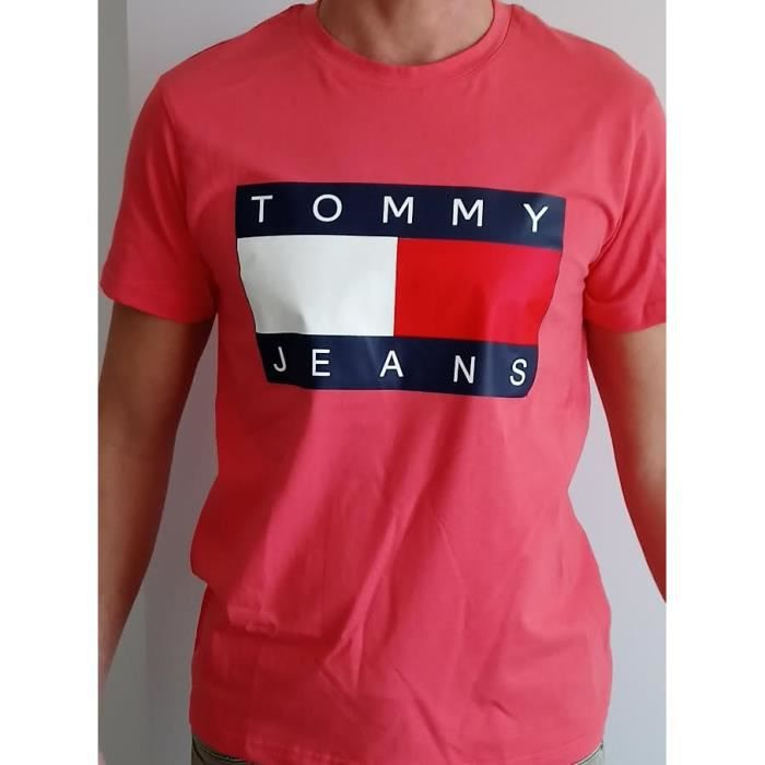 584a93324554 TEE SHIRT HOMME TOMMY HILFIGER TOMMY JEANS CORAIL Rose CORAIL ...