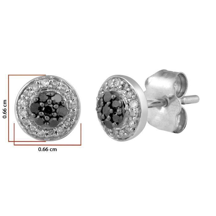 Femme 9carats (375-1000) Or Blanc #gold RondNoir Diamant K3P89