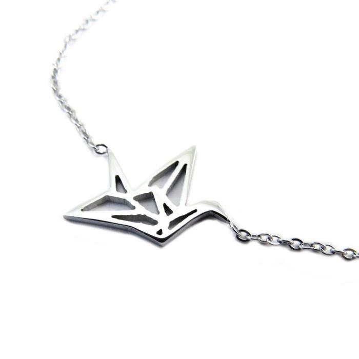 Bracelet artisanal acier Origami (oiseau) argenté - 15x15 mm [P3869]