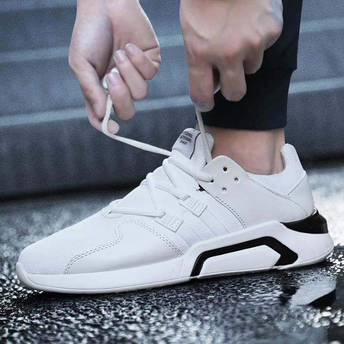 Skateshoes Homme Korean Simple Solf en cuir cool été - automne Sneakers Casual blanc taille9.5