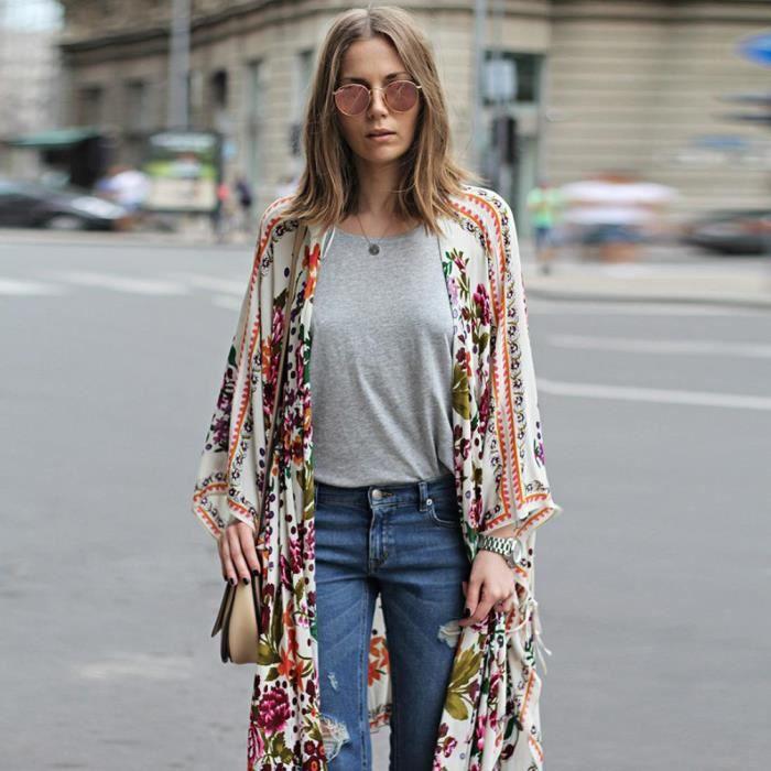 fa80a890581 Kimono Vrac Floral En Chemisier Soie Haut De Pilerty®femmes zf2144  Mousseline Châle Cardigan Recouvrir ...
