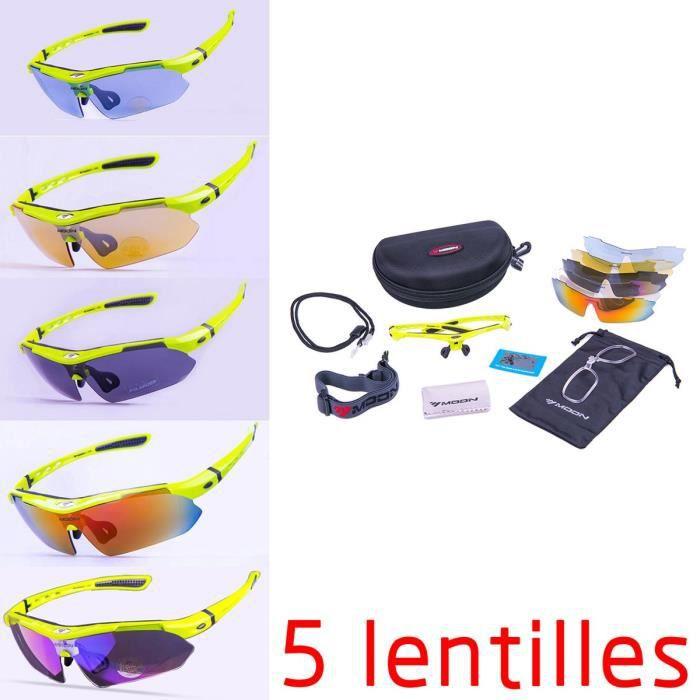 Lunettes de Soleil Cyclisme Avec 5 Lentilles YJ-0868Blanc