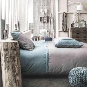 TODAY Parure de couette Cassandre 100% coton - 1 housse de couette 220x240 cm + 2 taies d'oreillers 63x63 cm gris et bleu
