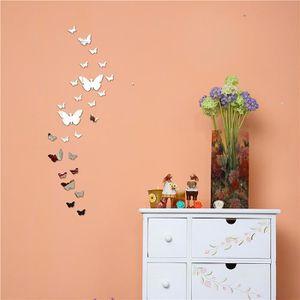 PAPIER PEINT Diy en trois dimensions cristal papillon miroir au