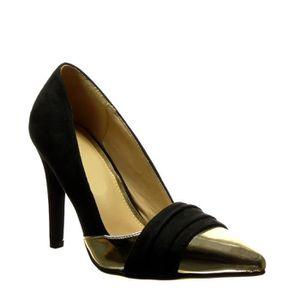 Angkorly - Chaussure Mode Escarpin Decolleté stiletto femme verni grainé doré Talon haut aiguille 10 CM - Bordeaux - 66603 T 38 VaPeRu