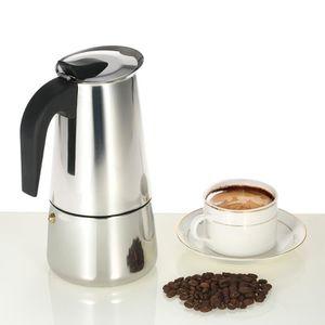 MACHINE À CAFÉ 450ml 9-Cup Machine à expresso en acier inox Perco