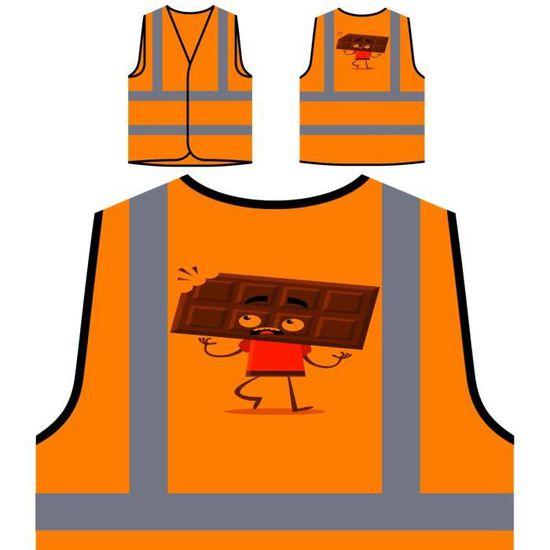 À chocolat Personnalisée Savoureux De Protection Visibilité Haute Orange Veste caractère HwIfWqvq