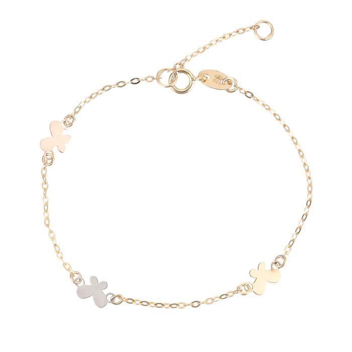 YSORA Bracelet Or Bicolore 375° Papillon Enfant