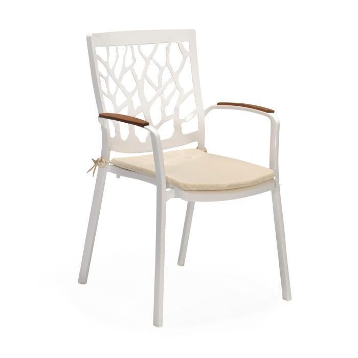 Portal Chaise De Jardin Blanche En Aluminium Blanc Achat Vente