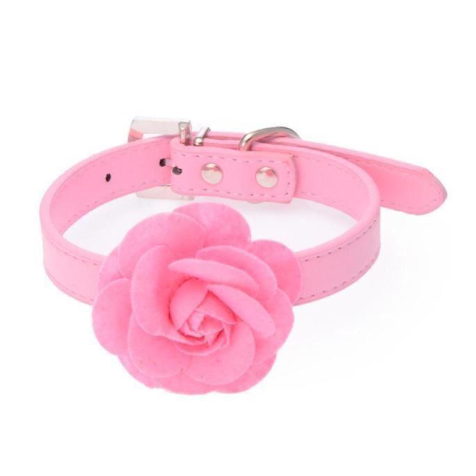 Rose Collier Chiot Clouté Doux Pour Chien En Cuir Boucle De Cou Pk Colliers - L Collar255