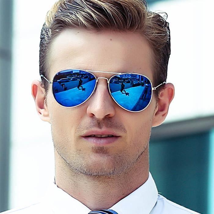 c790088edf40b6 Lunettes de soleil mixte homme et femme de Fashion Grande Cadre sunglasses  Métal Cadre de marque de Luxe Argent Blanc