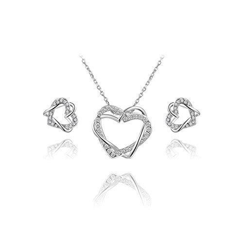 Cadeaux Saint-Valentin pour les femmes: Love Forever or blanc Double Coeur Swarovski elet Cristaux Cristaux Pen T7B8W
