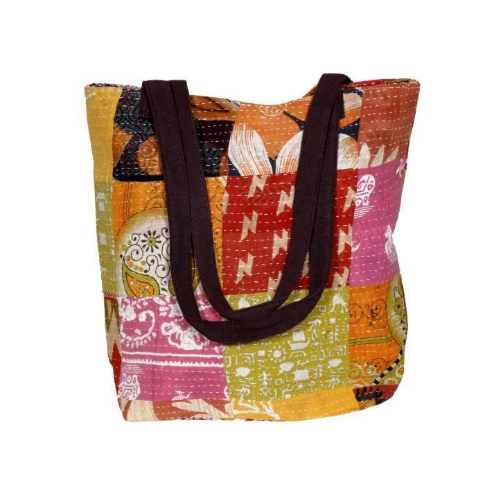 femmes vintage coton kantha travail toile poignée sacs à bandoulière à la main VFVC8
