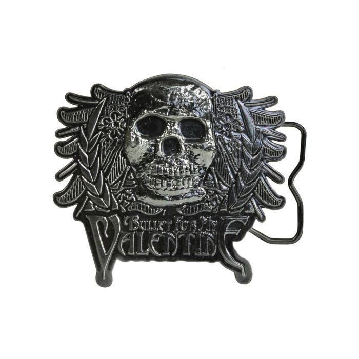 73f2c1ba63f1 Figurant une tête de mort hardcore et le logo du groupe, cette boucle pour  ceinture plaira à tous les fans de Bullet For My Valen.
