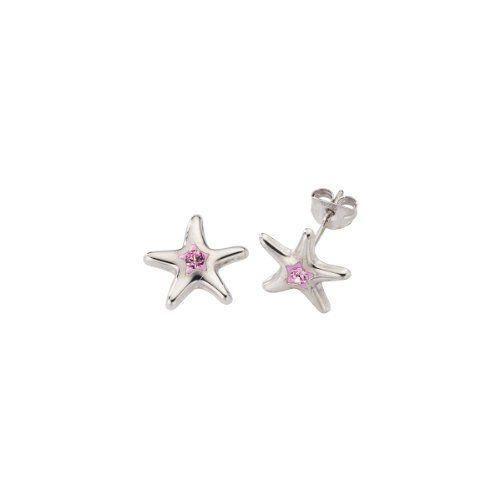 Crystelle - 340220013 - Boucles dOreilles Femme - Argent 925/1000 0.75 gr - Cristaux Swarovski Rose - Etoile de mer