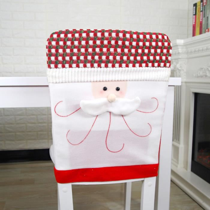 Housse de Chaise avec Chapeau Tricotage de Noël Ornement pour Décor on