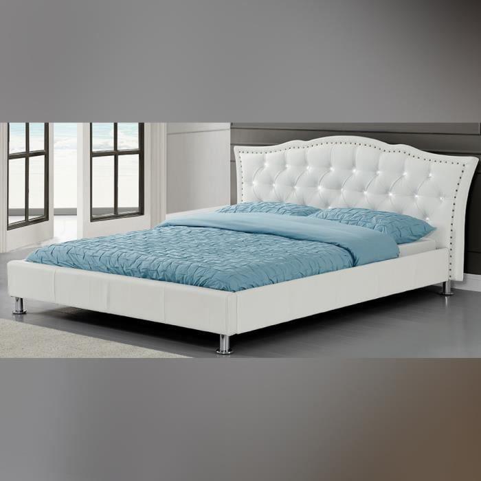 lit capitonn milano 160cm en blanc lit design contemporain conforta achat vente lit. Black Bedroom Furniture Sets. Home Design Ideas