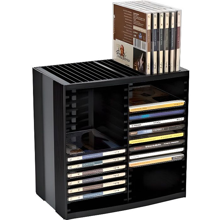 tour de rangement pour 48 cd a ressort noir prix pas. Black Bedroom Furniture Sets. Home Design Ideas