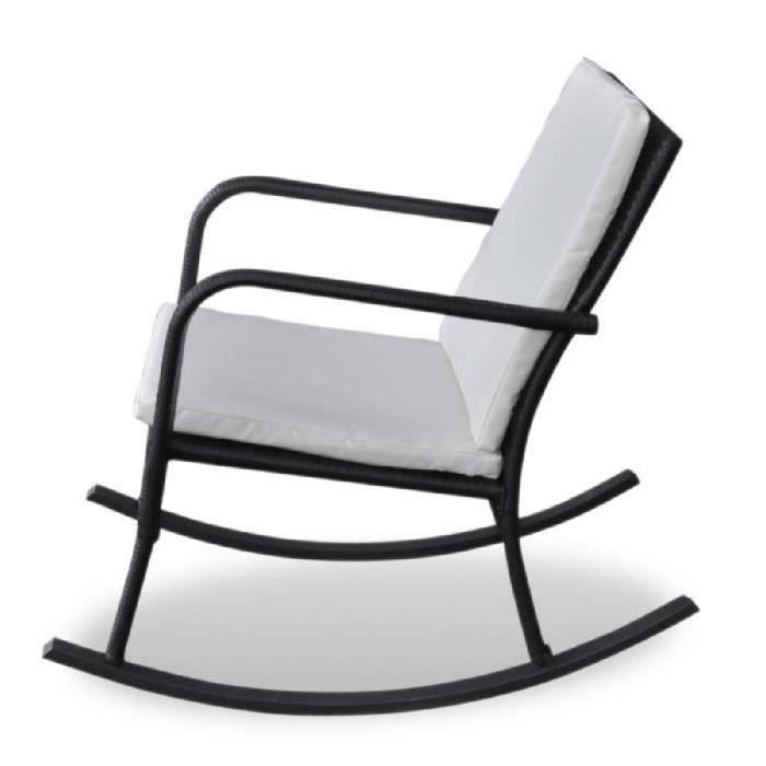 Rocking Chair Fauteuil à Bascule En Rotin Noir Chaise Confort Pour