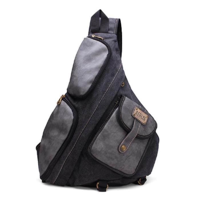 plus récent 4f210 8b715 Sac à dos bandoulière. Noir Gris Noir - Achat / Vente sac à ...