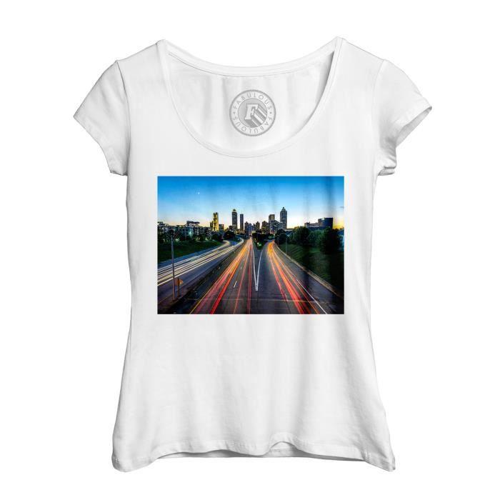 Atlanta Rond Usa Lapse Femme Shirt Voitures Col Dead T Echancré Time Road Walking FK1clTJ3