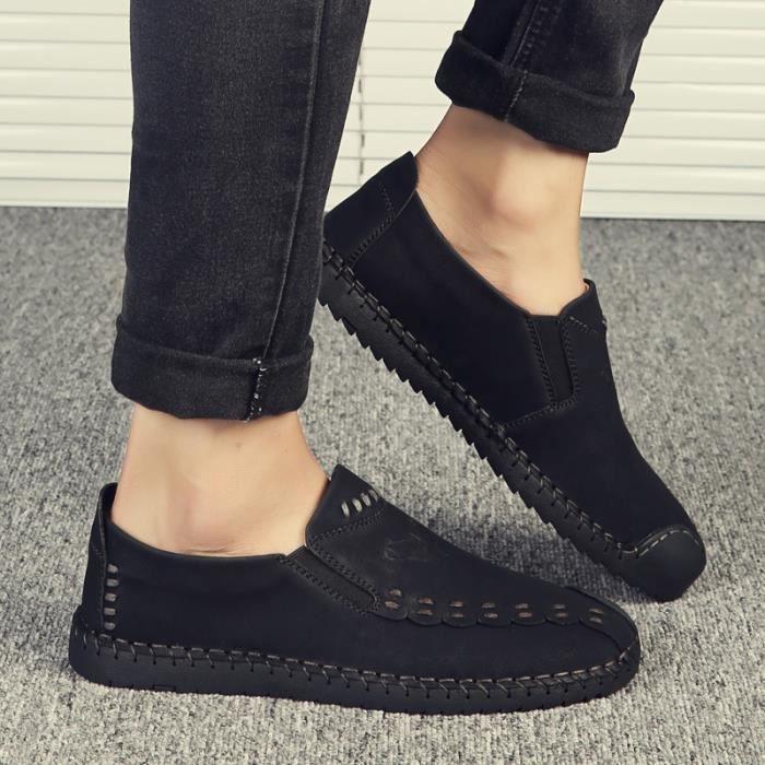 Style Coréen Haute Qualité Simple Véritable Chaussures Mocassins en cuir pour homme