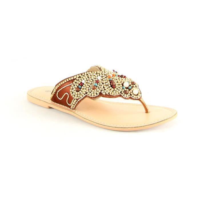 Sandales en cuir - bronzage