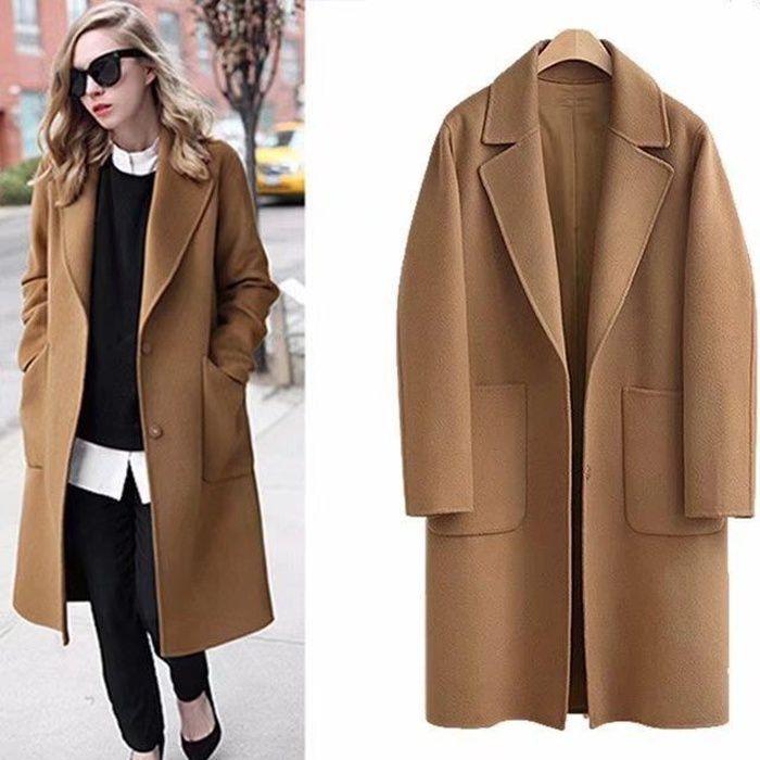 Vente long Achat cher femme laine pas Manteau q0HxwZISw