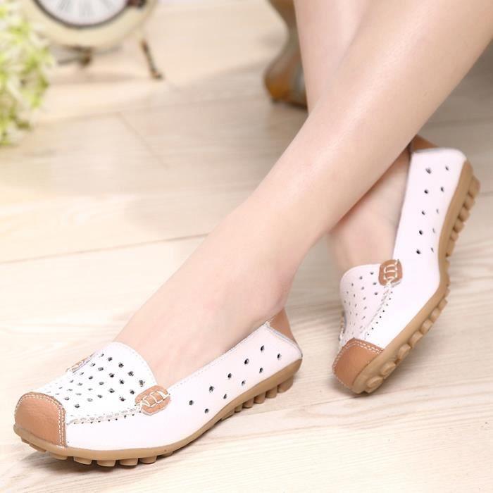Chaussures en cuir Slip-on femme Flats Confort Chaussures Femme Printemps Eté Mocassins Chaussures plates,rose,37,2789_2789