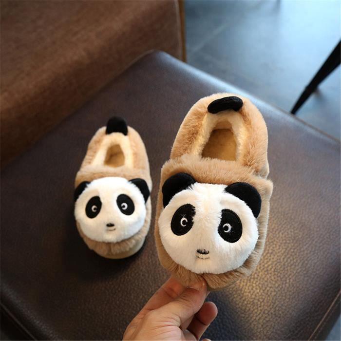 Panda Chaussons Nouvelle Plus De Cachemire Enfant Hiver Chausson meilleur Mode Garde Au Chaud Confortable Doux Beau Marron 20