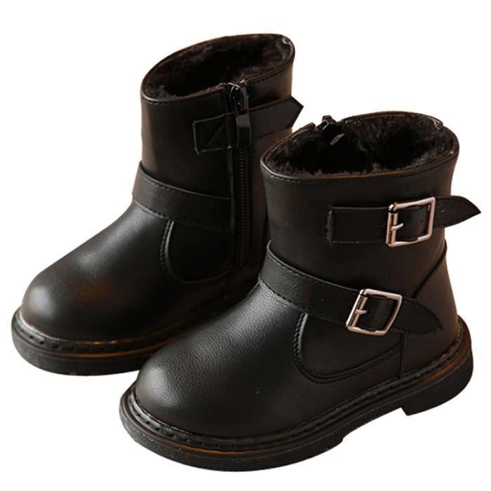 Fille XZ104Noir22 BMMJ Enfants Cuir Bottines Mode Bottes D'hiver Nouveaux pYWqqf