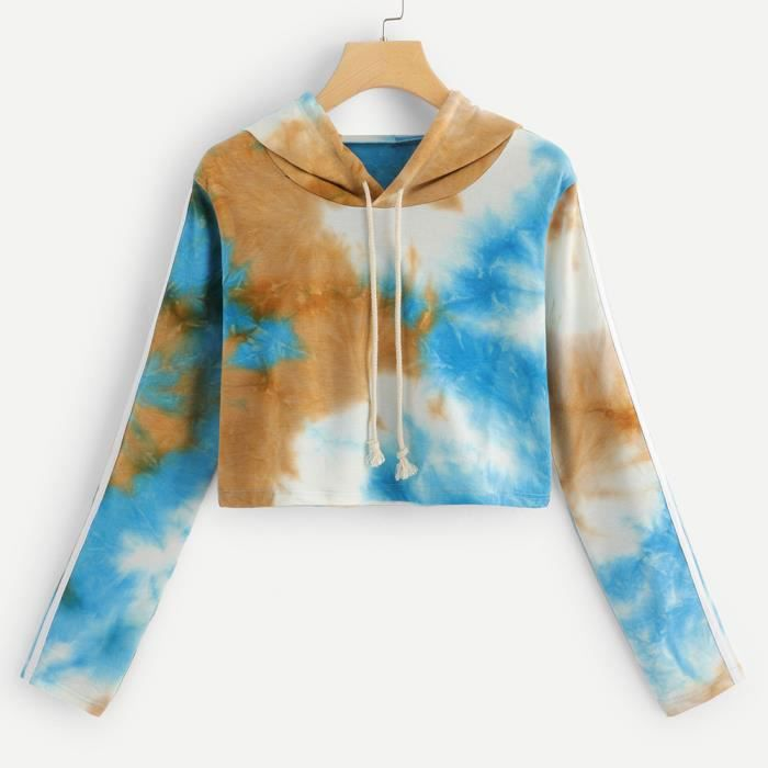 Chemisier À Dyed Bleu Femmes Pull Printed Manches Cordonnet Tie Capuche Longues Sweat XBxqfx7v