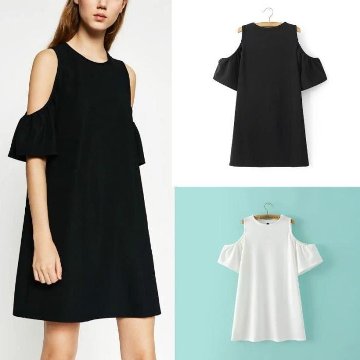 Demeuble-4366 Femmes Sweet Summer Off épaule O-Neck Casual solide en vrac Puff Party manches Mini robe pour les filles (Couleurs: