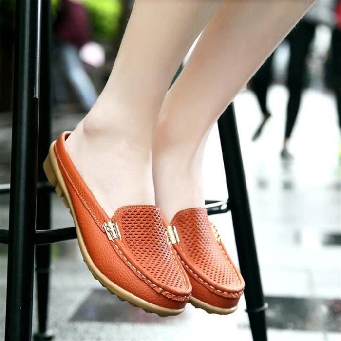 Mocassin Femmes Cuir Occasionnelles Classique Chaussure TYS-XZ045Orange35 DrReA